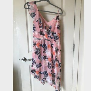 A New Day Pink Floral Asymmetrical Midi Dress
